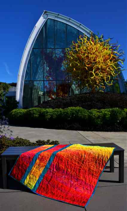 Back of 'In Chihuly's Garden Quilt""