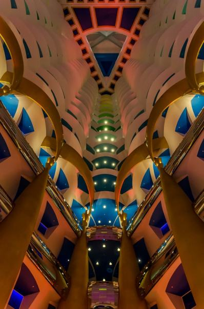 :Looking up at teh Burj Al Arab Atrium
