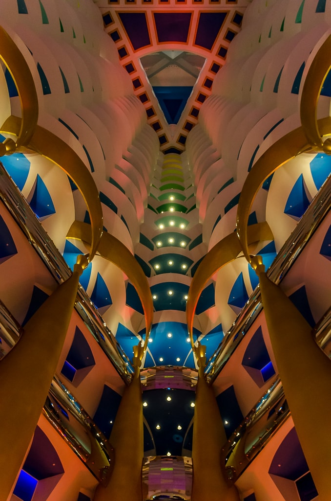 :Looking up at teh Burj Al Arab Atrium