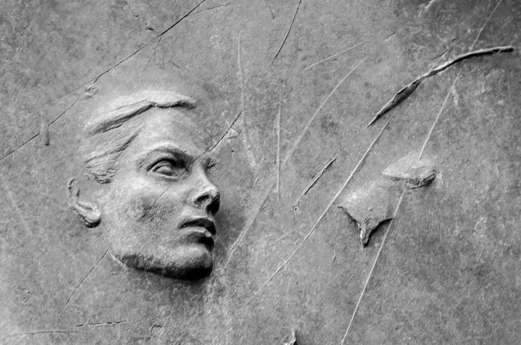 Woman' face in the FDR memorial in Washington DC