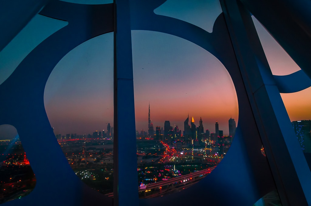 Sunset view of downtown Dubai from The top of The Frame