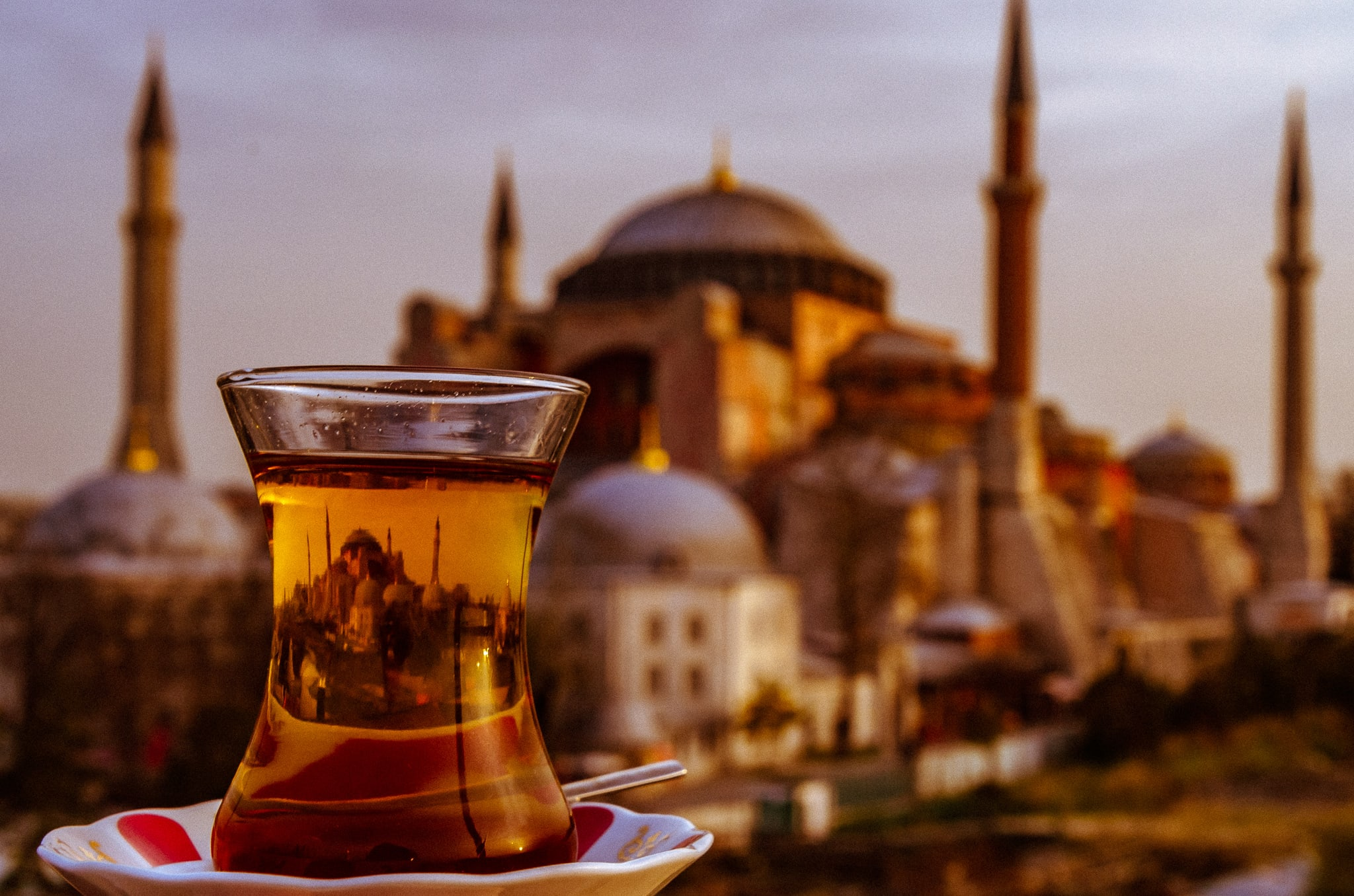 Turkish tea with a view of the Hagia Sofia #hagiasophia #istanbul #reflectionphoto