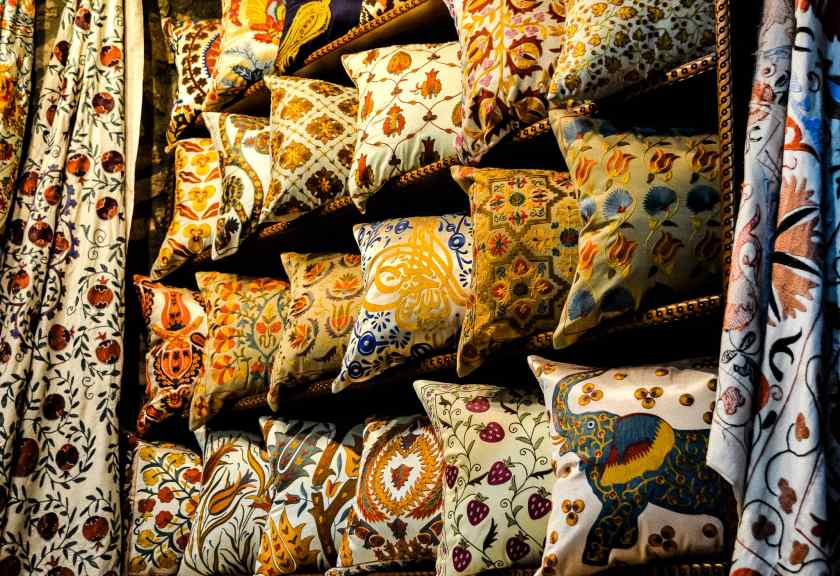 Colorful pillows and fabrics in the Istanbul Spice Bazaar #istanbul #bazaar #spicebazaar