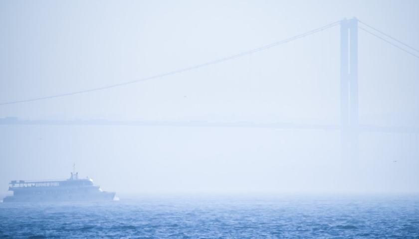 Early morning fog shrouds the Bosphorus bridge #istanbul #bosphorusbridge