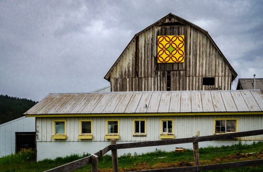 Plum Hill Vineyard's 100+ year old former dairy barn shows off a Double Wedding Ring design.