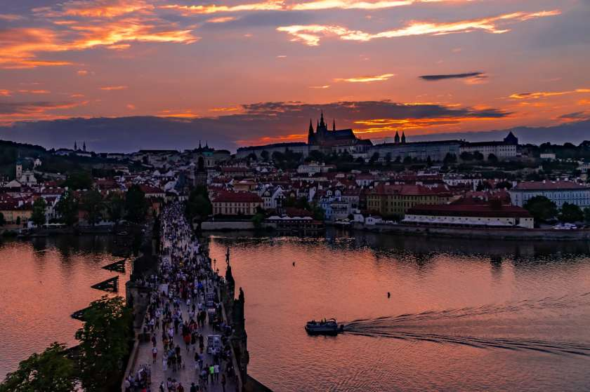 Sunset over a classic Prague view