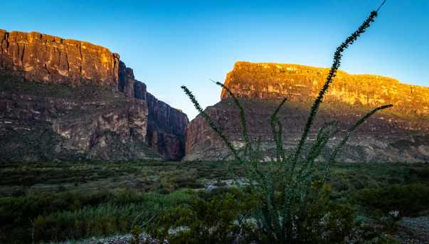 Looking out toward Santa Elena Canyon at sunrise