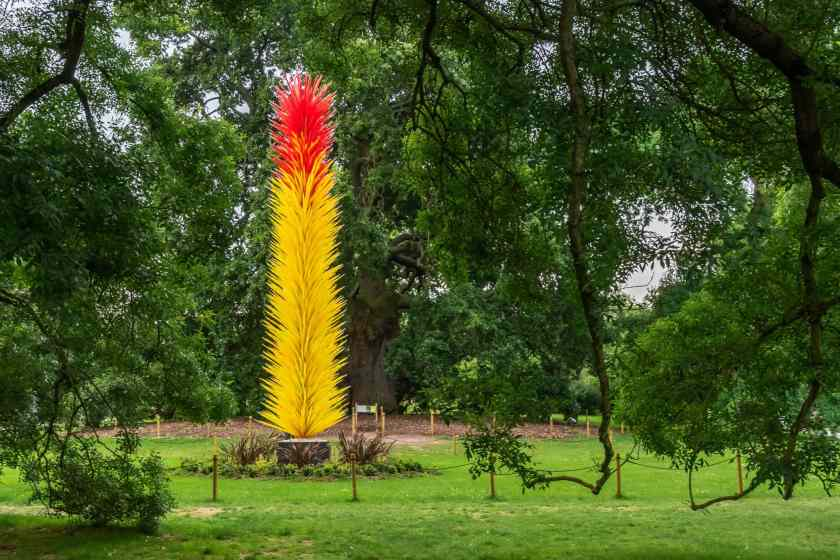 Scarlet and yellow icicle tower at Kew Gardens
