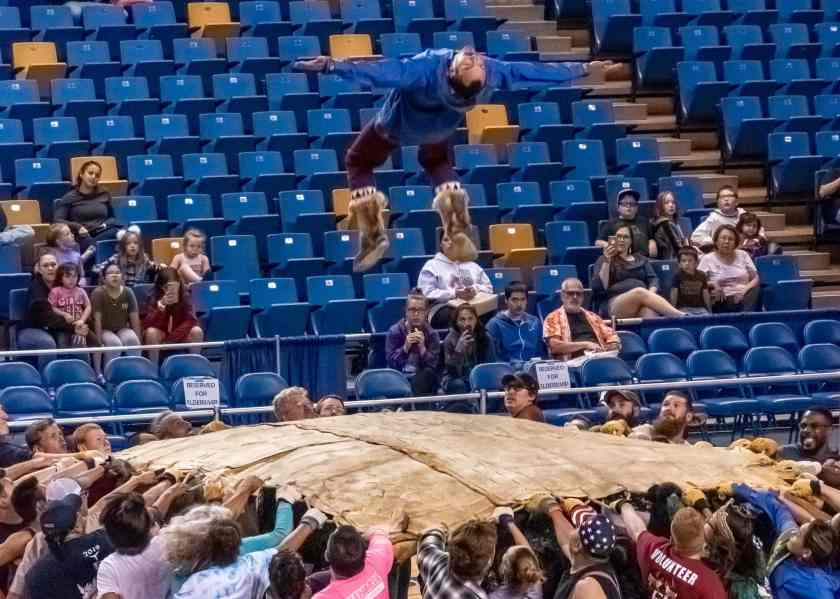 Blanket toss at the 2019 World Eskimo and Inuit Olympics