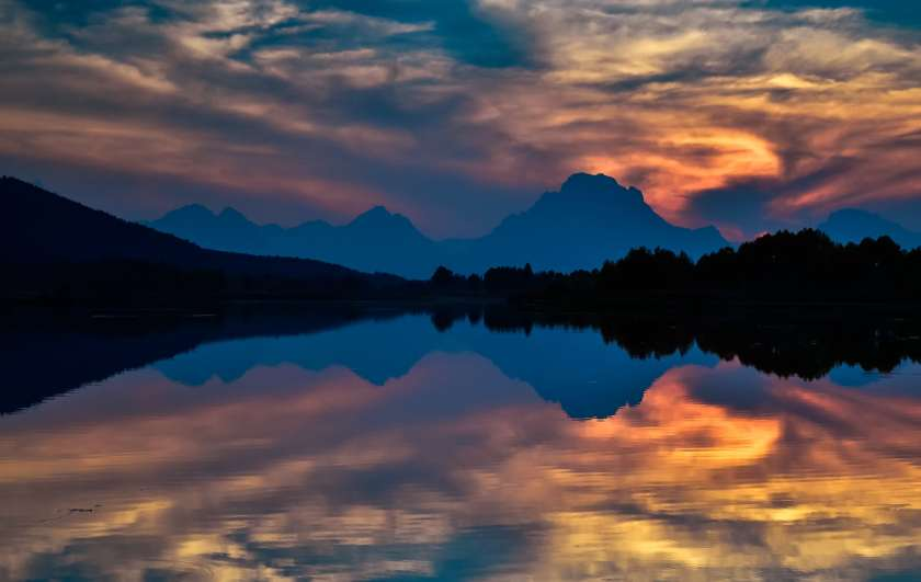 Sunset reflection on Oxbow Bend.