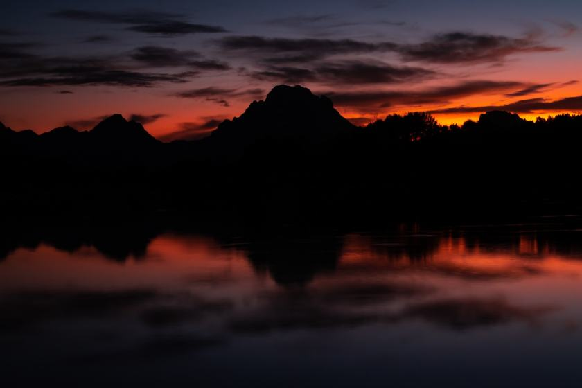 Sunset over the Teton range as seen from Oxbow Bend