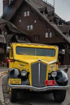 One of the classic Yellow tour Buses at the Old Faithful Inn
