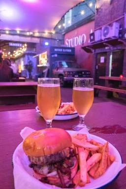a Backyard burger and a beer