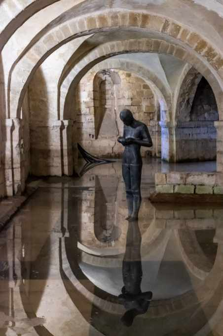 Sttue in the flooded underground crypt
