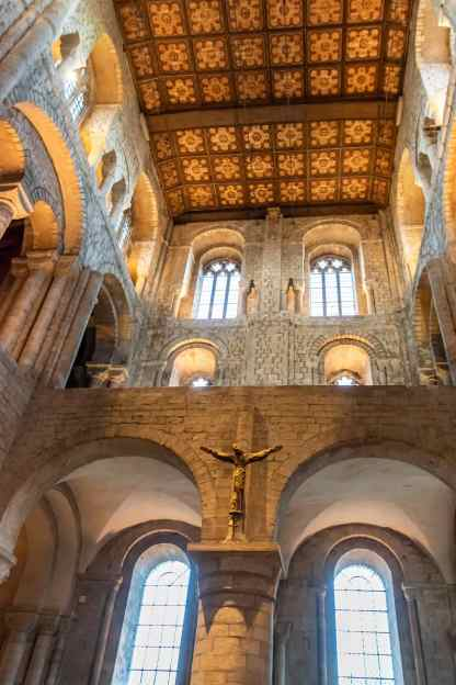 Looking up into the Norman part of the cathedral