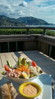 delicious seafood salad lunch at Rocky Point Restaurant