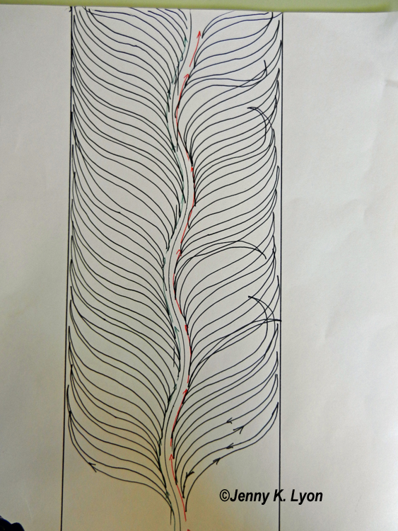 """I made all the fronds on the left hand side """"normal"""" so that you could see the contrast and decide which you like"""