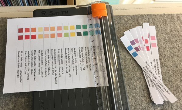 Fabric labels and a paper cutter