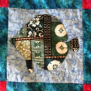 quilt block with appliqued fish