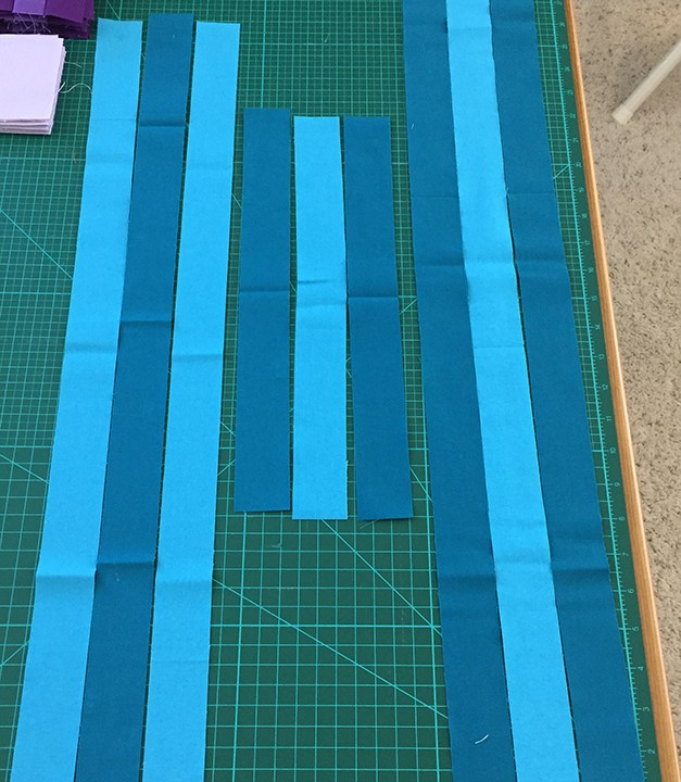 Strips cut for strip-piecing