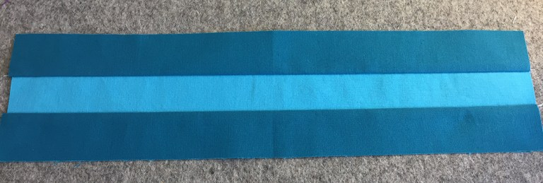 Three strips sewn together