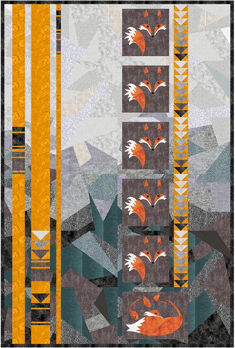 quilt design with foxes, gray background, and orange stripes