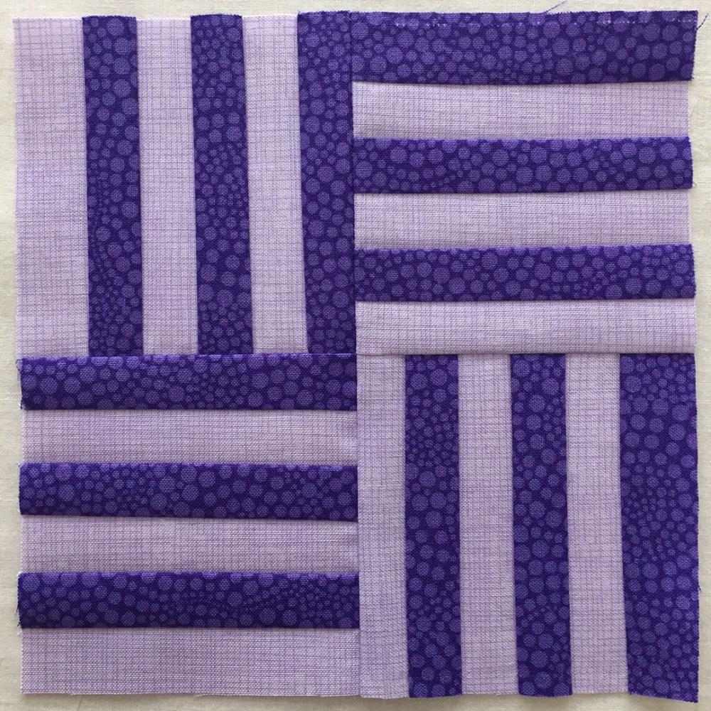 quilt block in purples