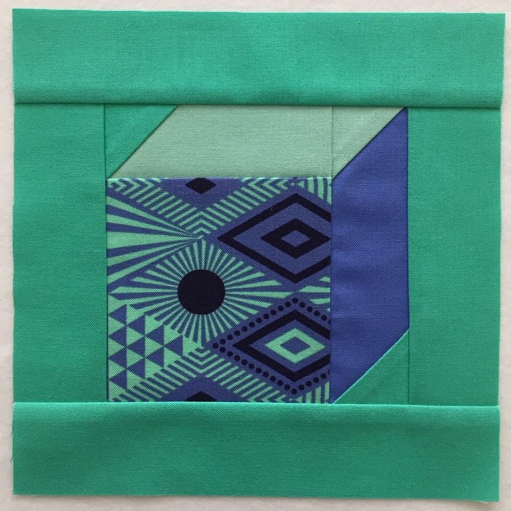 quilt block in turquoise