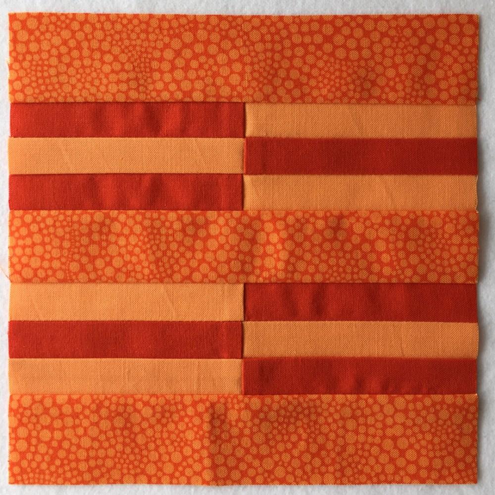 quilt block in orange
