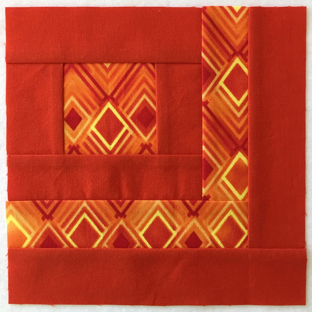 quilt block in orange