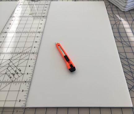 Craft knife, ruler, and foam core
