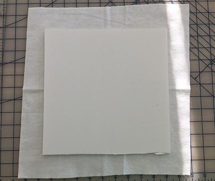 Foam board centered on flannel