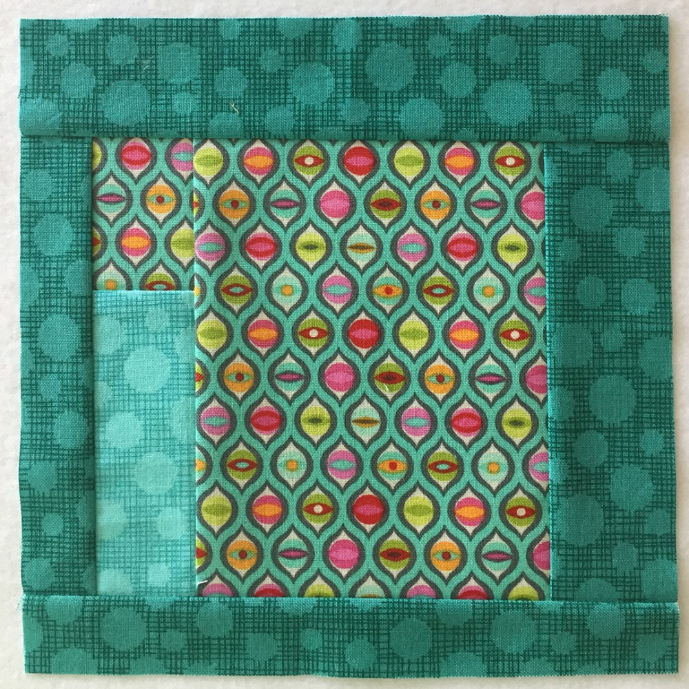 quilt block in blue-green