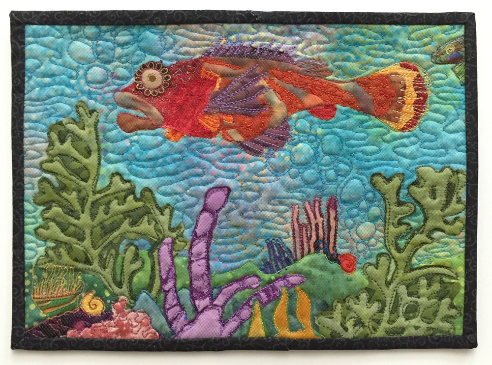 small quilt showing a fish and some underwater plants