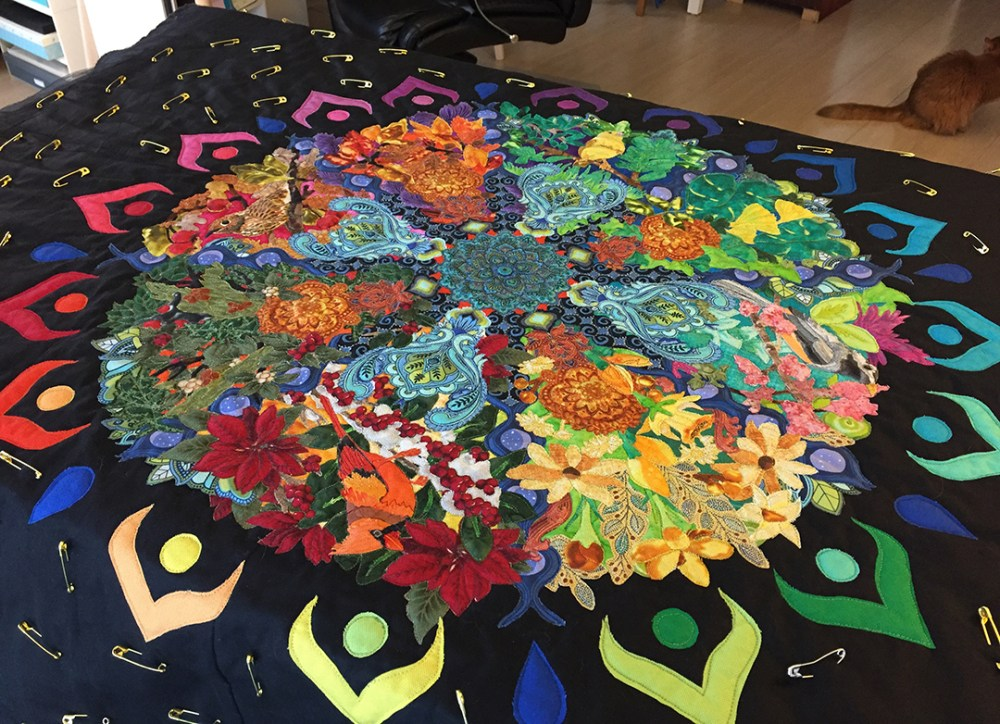 mandala quilt with the center quilted