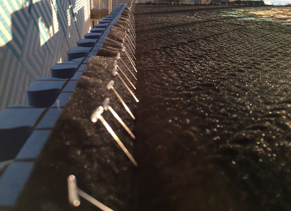 a line of T-pins in the quilt, in strong angled sunlight