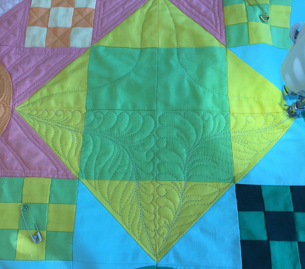 half the block has been quilted