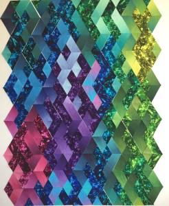 Diamond quilt blocks on a design wall