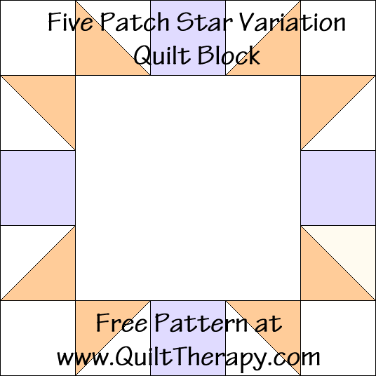 Five Patch Variation Quilt Block Free Pattern at QuiltTherapy.com!