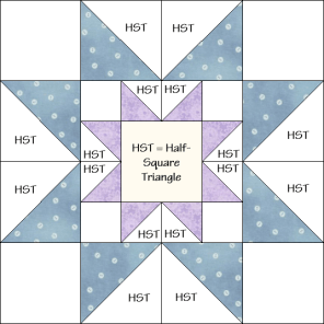 Star in a Star Quilt Block Diagram Free Pattern at QuiltTherapy.com!