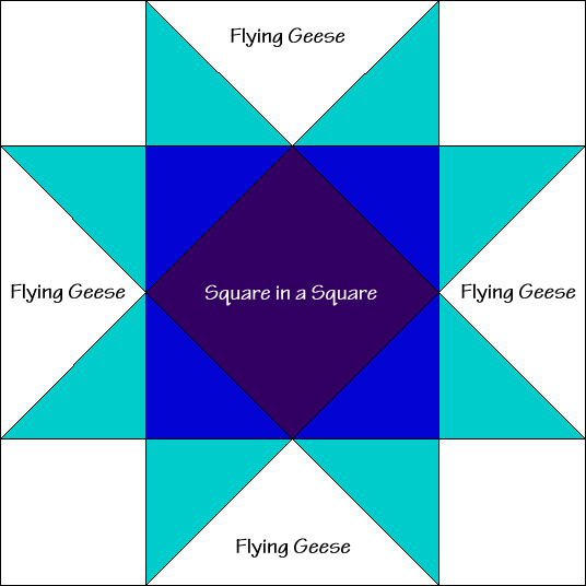 Eight Pointed Star Quilt Block Diagram