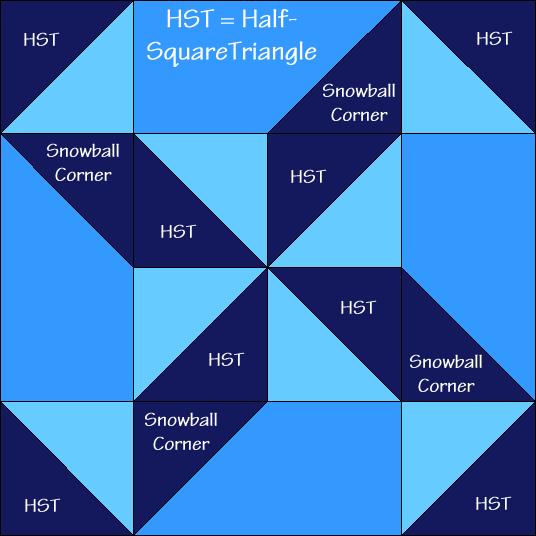 Shooting Star Variation Quilt Block Diagram
