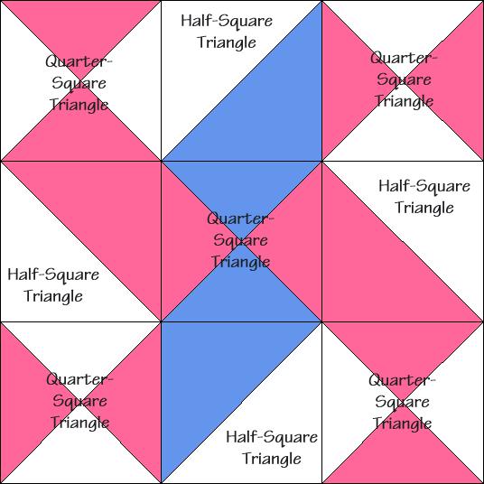Wandering Star Variation Quilt Block Diagram