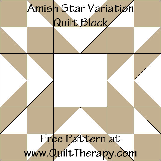 Amish Star Variation Quilt Block Free Pattern at QuiltTherapy.com!