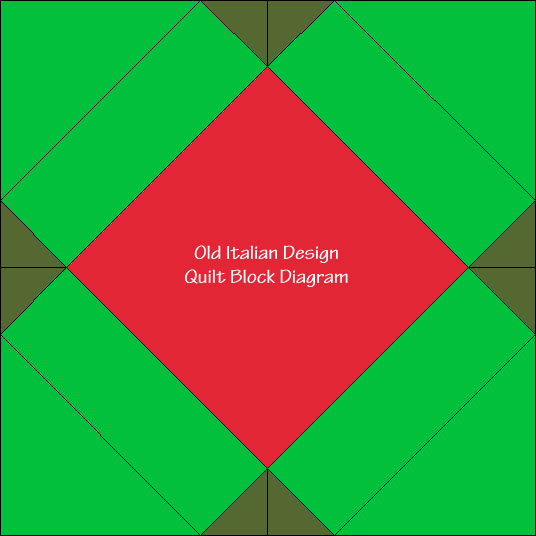 Old Italian Design Quilt Block Diagram Free Pattern at QuiltTherapy.com!
