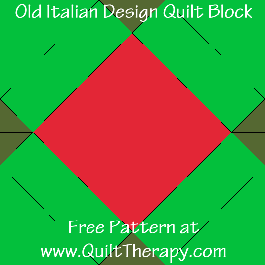 Old Italian Design Quilt Block Free Pattern from QuiltTherapy.com!