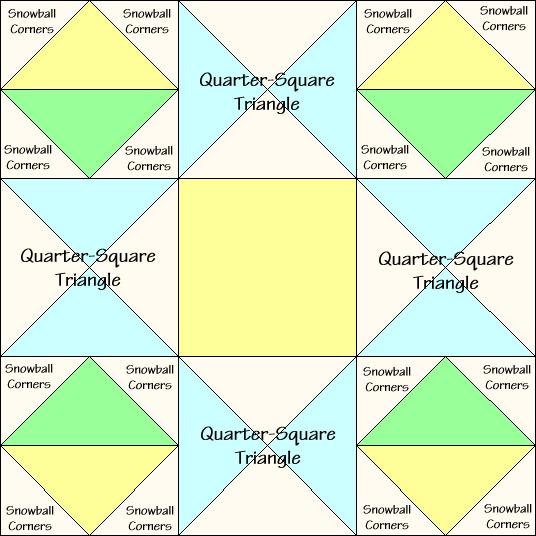 Ornate Star Quilt Block Diagram