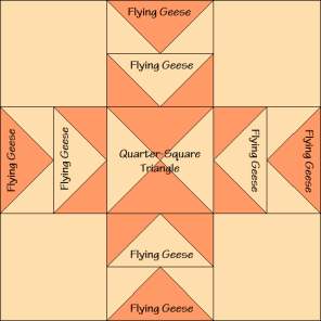 Eight-Pointed Star Variation Quilt Block Diagram Free Pattern at QuiltTherapy.com!