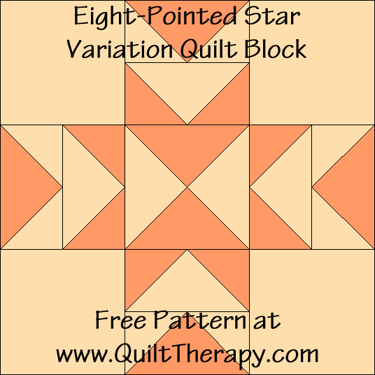 Eight-Pointed Star Variation Quilt Block Free Pattern at QuiltTherapy.com!