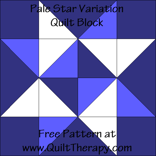 Pale Star Variation Quilt Block Free Pattern at QuiltTherapy.com!